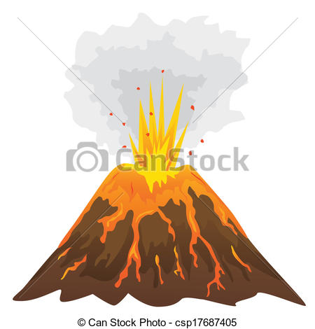 Volcano Isolated On White Background (Vector)