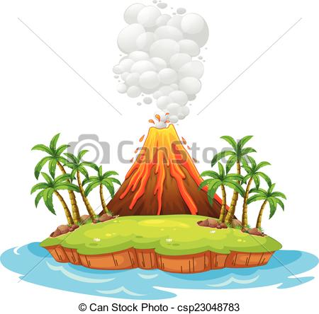 ... Volcano island - Volcano on an island with smoke