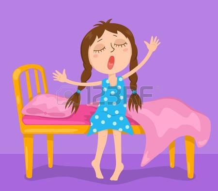 wake up girl: The cute girl wakes up. Vector cartoon illustration. Illustration