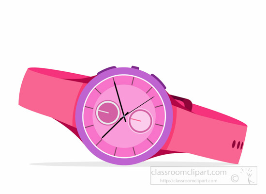 pink-watch-with-rubber-band-s - Watch Clipart