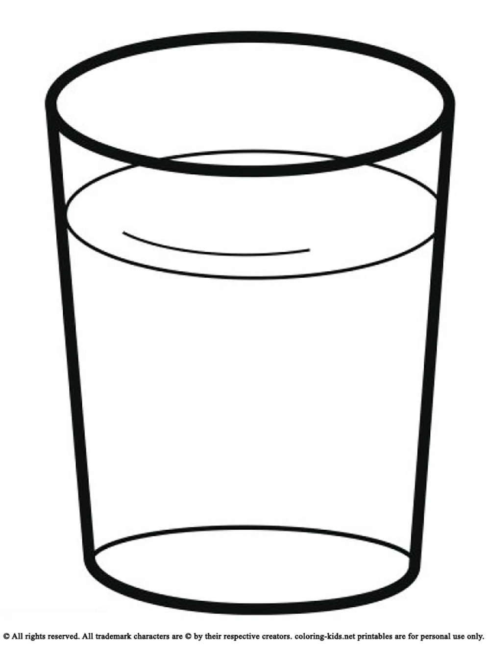 glass of water clipart black and white 6