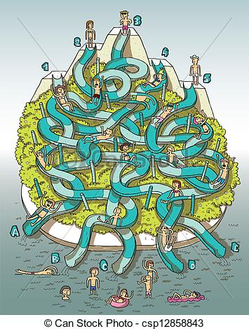 ... Water Park Maze Game with numbers and letters in blue.