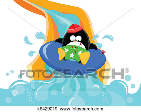 Clip Art - Penguin On Water Slide. Fotosearch - Search Clipart,  Illustration Posters,