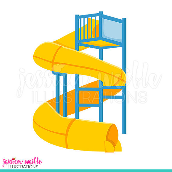 Super Water Slide Cute Digital Clipart, Water Park Clip Art, Twisty Water  Slide Graphic, Big Water Slide Illustration, #1260