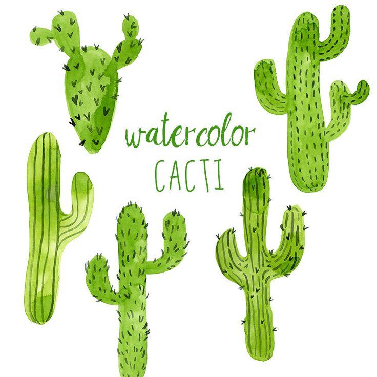 Watercolor Cacti, Digital cactus clip art, Western clipart, Trend Clip Art, Green