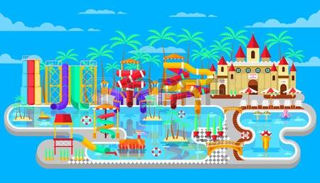 waterpark: Vector illustration of exterior water park, outdoor water park, water park with