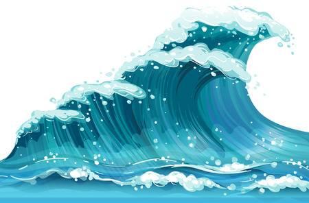 Illustration of a huge ocean wave Illustration