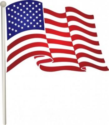Waving American Flag Happy Flag Day Clipart