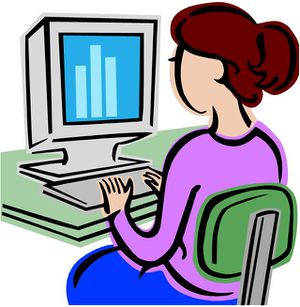 girl on computer clipart