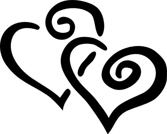 wedding bells Pictures Clip Art | Black Outline Joined Hearts clip art - vector clip art