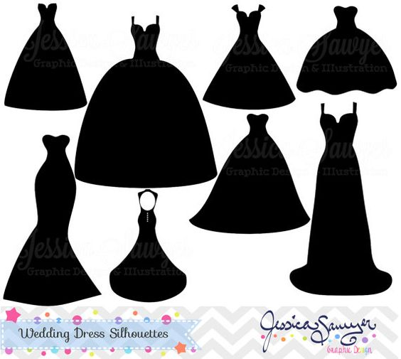 Wedding dress clipart, silhouette clipart, for greeting cards, announcements, scrapbooking