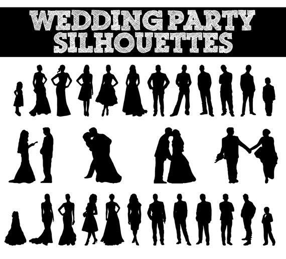 Wedding Party Silhouettes // Wedding, Bride, Bridesmaid, Groomsman, Flowergirl Silhouette // Love Clipart // Bridal Silhouettes