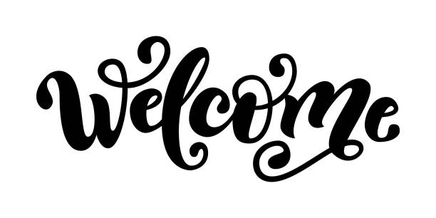 Welcome. Hand Lettering word. Handwritten modern brush typography sign.  Black and white.