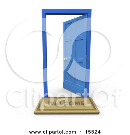 Welcome Door Mat In Front Of An Open Blue Door by 3poD
