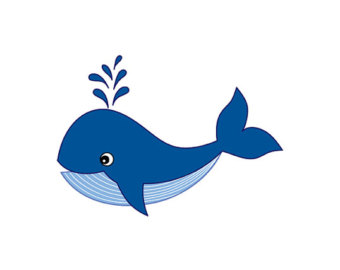 Whale Clipart - Digital Vector Whale, Sea, Ocean, Nautical, Animal, Bubbles, Tail, Navy, Whale Clip Art for Personal and Commercial Use