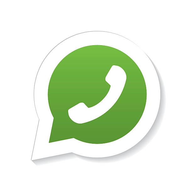 Green phone handset in speech bubble icon with fading shadow vector art  illustration