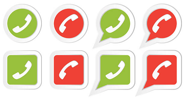 Set of Icons with phone handset vector art illustration