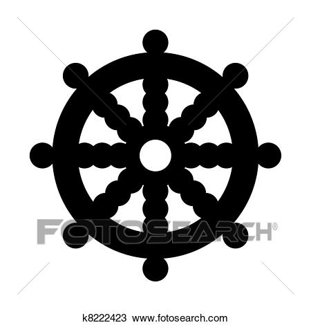 Buddhist Wheel of Dharma in black silhouette islolated on white background.