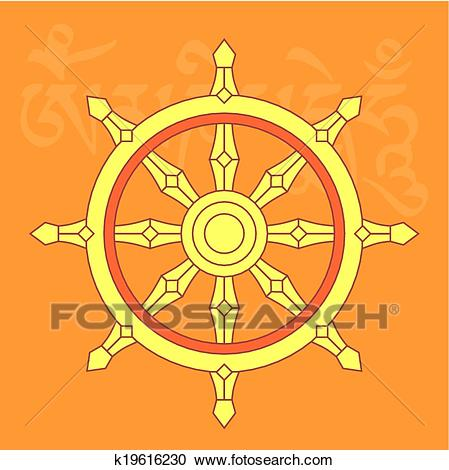 Clipart - Wheel of dharma,buddhist religious symbo. Fotosearch - Search Clip  Art,