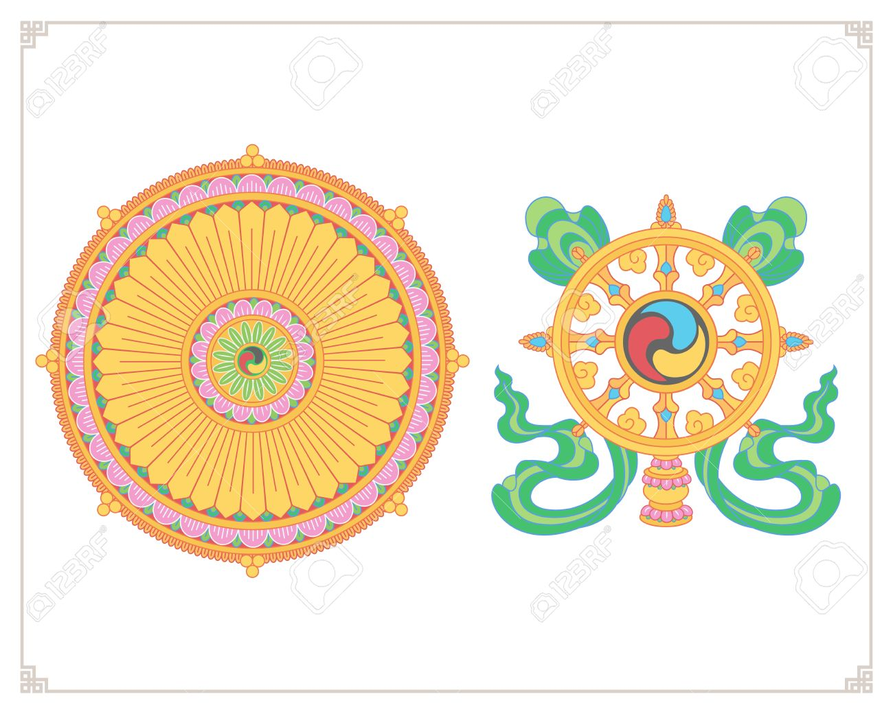 Dharma Wheel, Dharmachakra Icons. Wheel of Dharma in flat design. Buddhism  symbols.