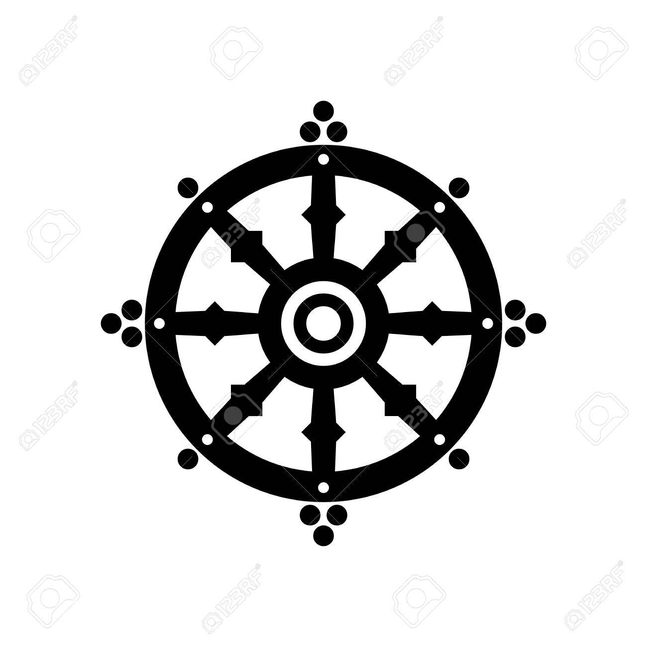 Dharma wheel of fortune, spirituality, Buddhism religious symbol. Vector  illustration Stock Vector -