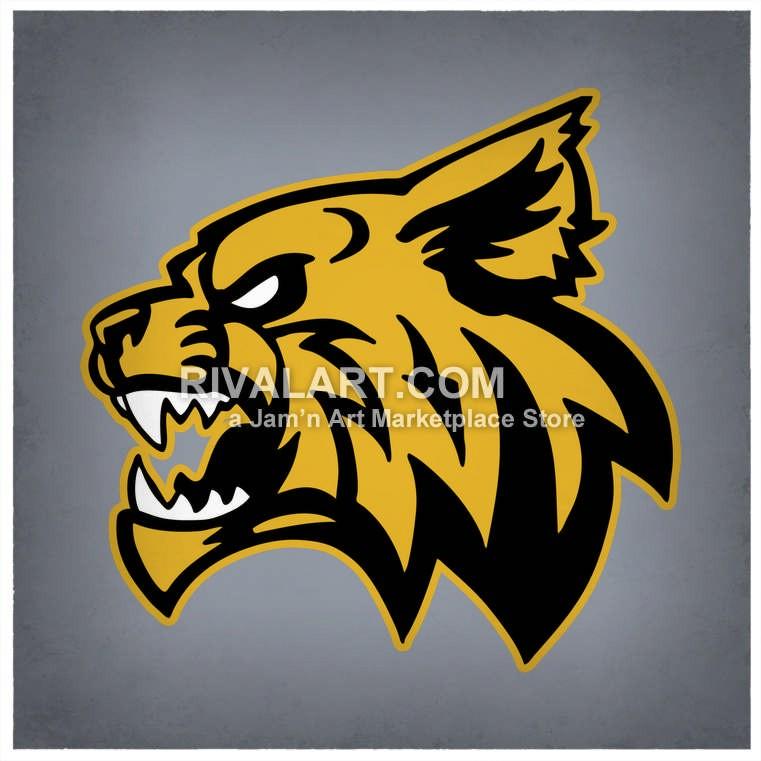 Wildcat Mascot Head Side.