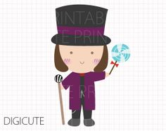 Willy Wonka from Willy Wonka and the Chocolate Factory Kids Clip Art, INSTANT DOWNLOAD,