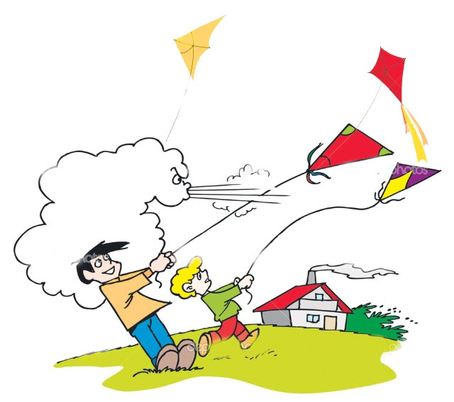 Kite clipart windy day #5