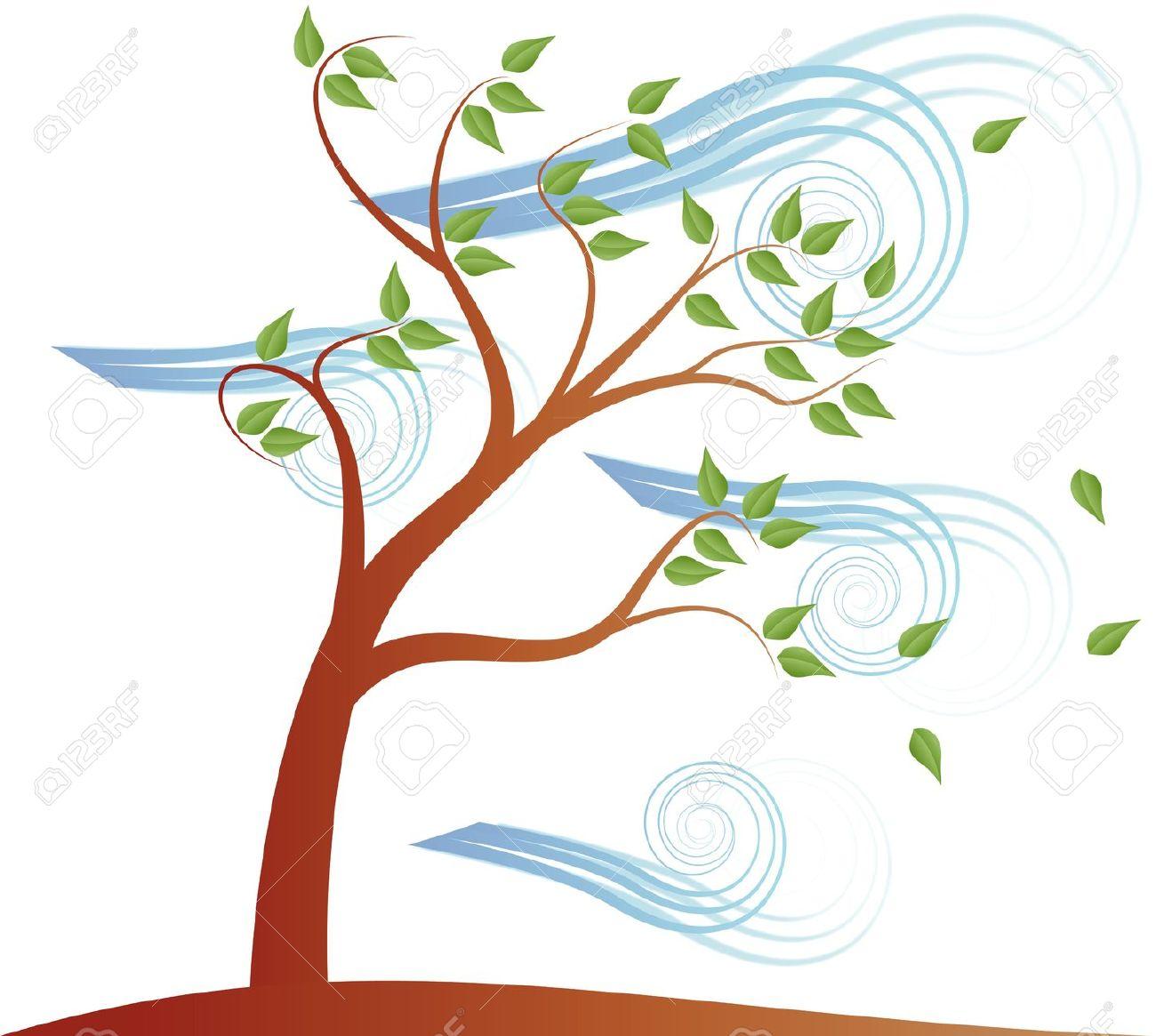 Swirl windy tree clipart