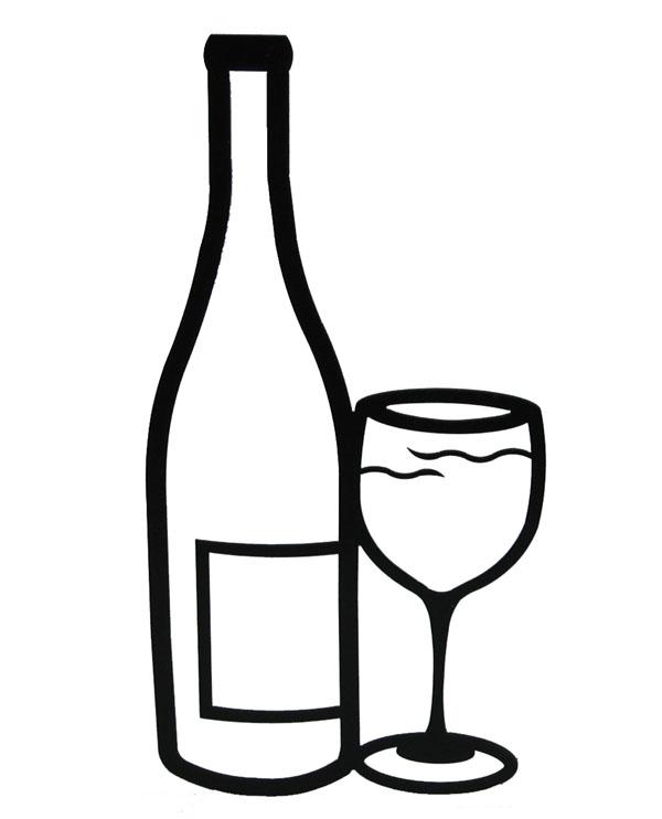 Wine black and white clip art .