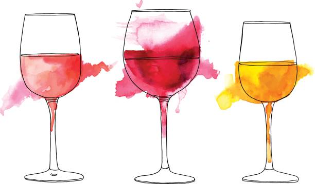 Set of vector and watercolor drawings of wine glasses vector art  illustration