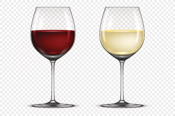 Vector realistic wineglass icon set - with white and red wine, isolated on  transparent background