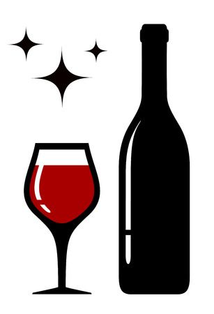 wine glass and bottle silhouette with star