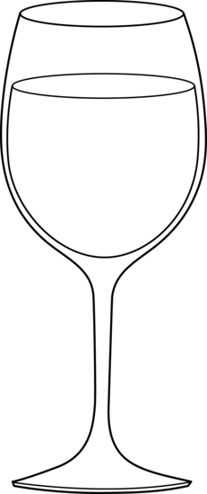 Wine Glass Black White Clipart #1