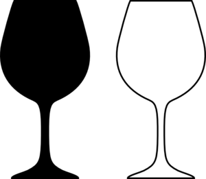 Wine Glass Silhouette Black A - Wine Glass Clipart