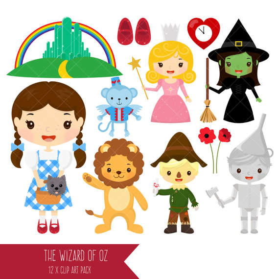 Wizard of Oz Clipart / Dorothy / Tin Man / Scarecrow / Wicked Witch / Good  Witch / Cowardly Lion / Emerald City from ClipArtisan on Etsy Studio