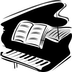 Woman grand piano notes cartoon piano clip art free vector 2