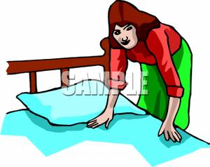 Woman Making The Bed Royalty Free Clipart Picture