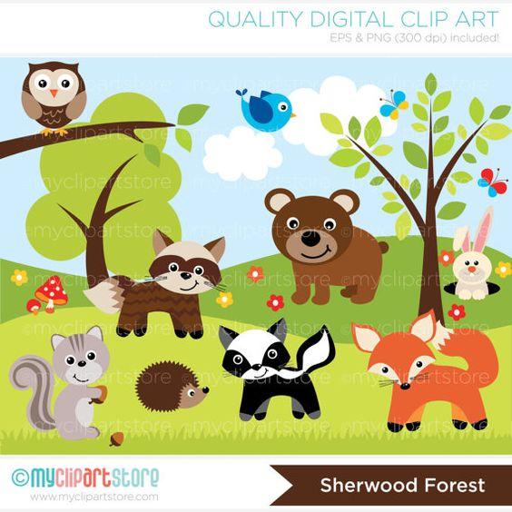 woodland clip art   Woodland / Sheerwood Forest Animals Clip Art / Digital Clipart .