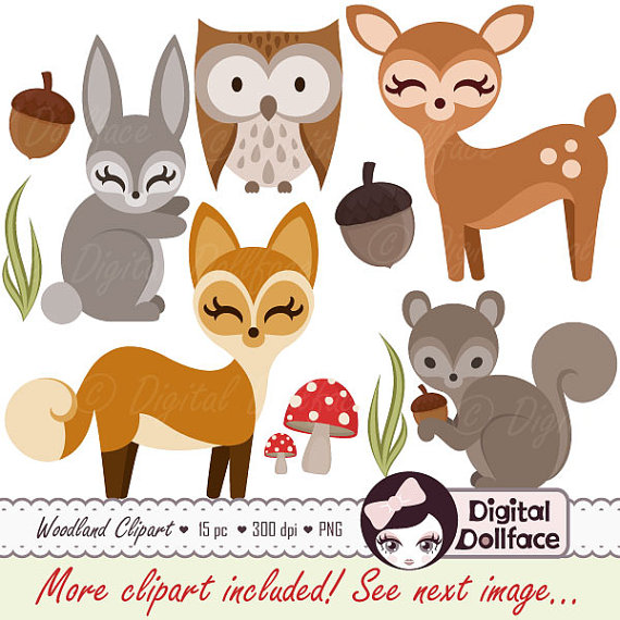Woodland Forest Animal Clipart, Owl, Deer, Fox, Squirrel, Bunny Clip Art