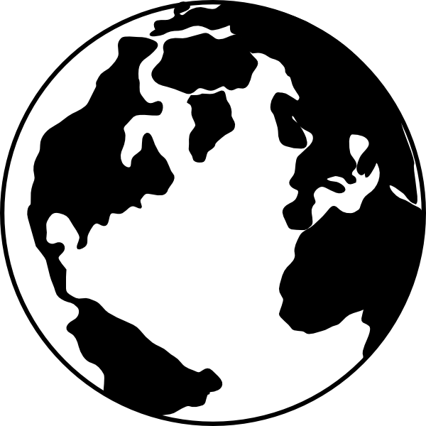 Clipart World Clipart Black A - World Clipart Black And White