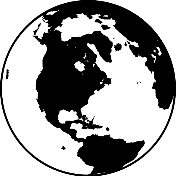 Earth Clipart Black And White Asia
