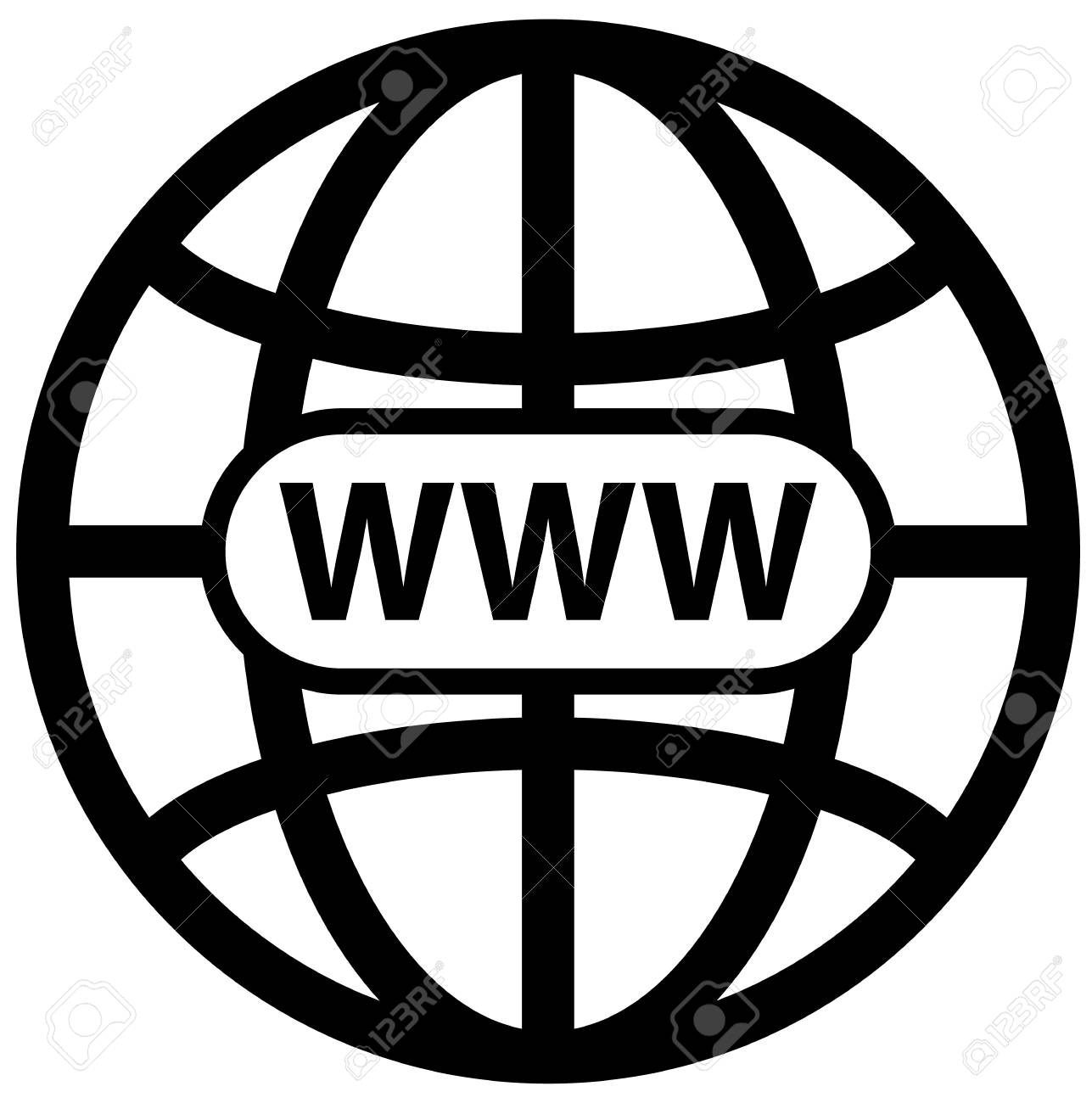 Black world wide web globe symbol vector icon Stock Vector - 85442031