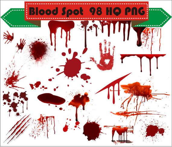 Blood Spots Open Wound Clipart PNG Set Digital Files Transparent Scrapbook  Supplies Clip Art Instant Download