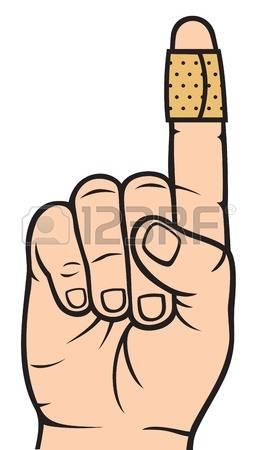 finger with adhesive bandage Illustration