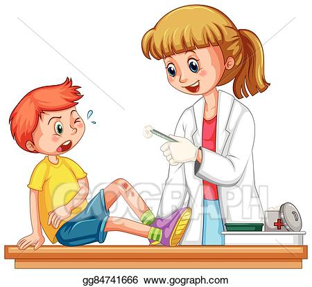 Health icon set; Doctor cleanin up the wound of boy