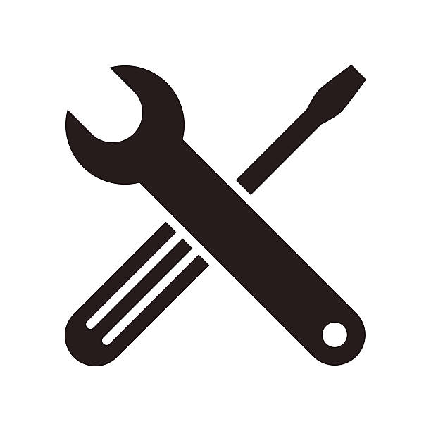 Wrench and screwdriver icon vector art illustration