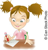 . hdclipartall.com Young girl writing at her desk - Illustration of a cute.