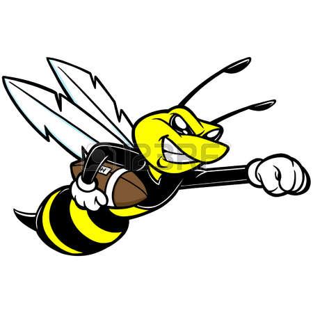 yellow jacket bee: Bee Football Mascot Illustration