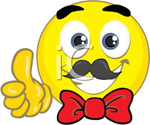 Yellow Smiley Face With A Red Bow Tie Clip Art Image